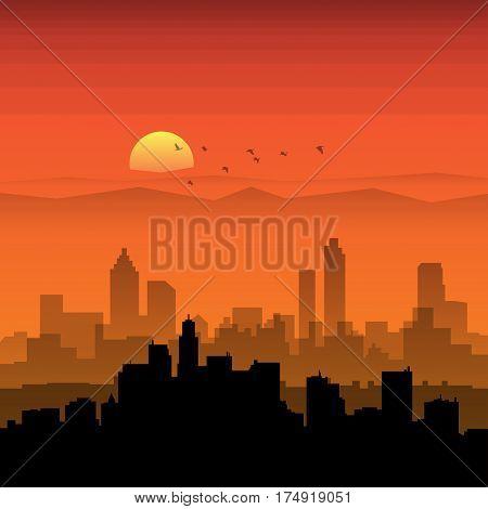 City skyline. Urban landscape. Cityscape in flat style. Modern city landscape. Cityscape backgrounds. Daytime city skyline vector illustration