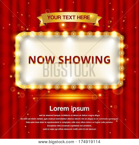 A retro theater sign with a red curtain background vector