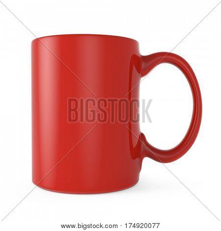 Red tea or coffee mug side view. 3D rendering.
