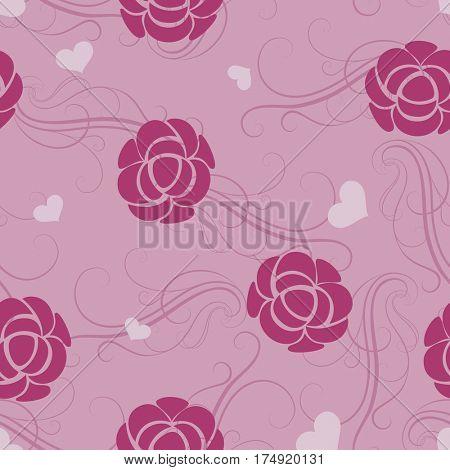 Seamless floral pink flower wallpaper pattern.