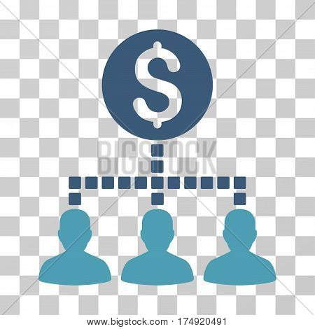 Money Recipients icon. Vector illustration style is flat iconic bicolor symbol cyan and blue colors transparent background. Designed for web and software interfaces.