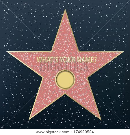 Walk of fame star, vector template for your name.
