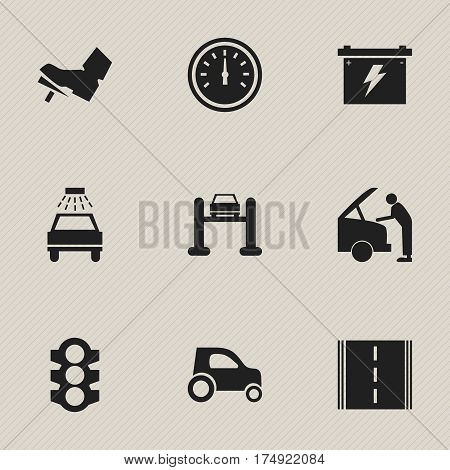 Set Of 9 Editable Vehicle Icons. Includes Symbols Such As Car Lave, Speed Control, Highway And More. Can Be Used For Web, Mobile, UI And Infographic Design.