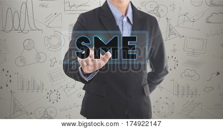 Businessman hand pressing wording SME. sign on virtual screen. can used for cover page presentation and web banner. business strategy concept.