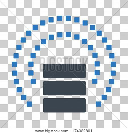 Database Sphere Shield icon. Vector illustration style is flat iconic bicolor symbol smooth blue colors transparent background. Designed for web and software interfaces.