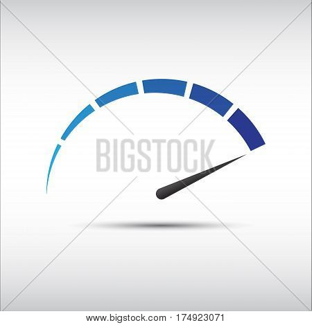 Blue vector tachometer speedometer icon performance measurement symbol