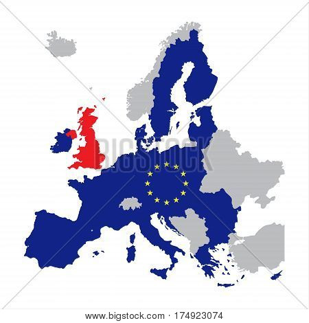Map of Europe with European Union members and red Great Britain / United Kingdom vector illustration of brexit