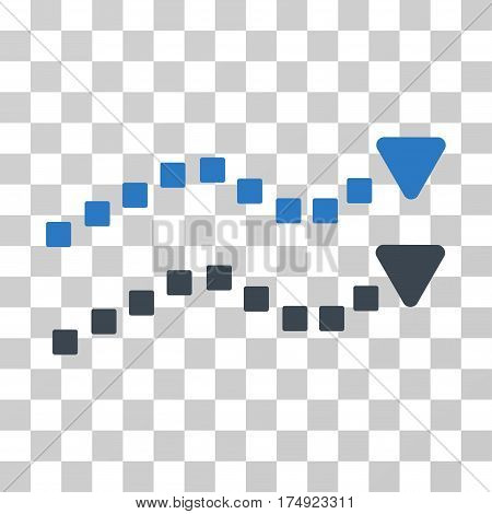 Dotted Trend Lines icon. Vector illustration style is flat iconic bicolor symbol smooth blue colors transparent background. Designed for web and software interfaces.