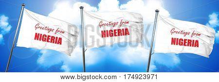 Greetings from nigeria, 3D rendering, triple flags