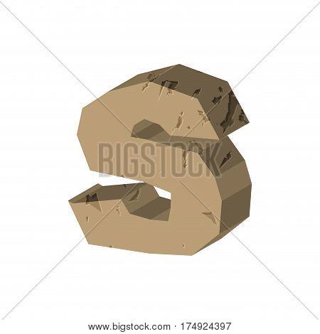 Letter S Stone Font. Rock Alphabet Symbol. Stones Crag Abc Sign