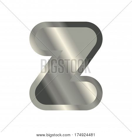 Letter Z Steel Font. Metal Alphabet Sign. Iron Abc Symbol. Chromium Lettering. Silver Typography