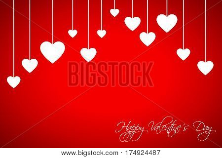Happy Valentines day card with hearts on red background vector illustration