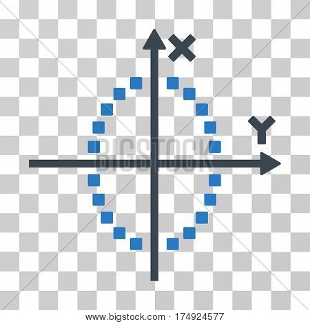 Ellipse Plot icon. Vector illustration style is flat iconic bicolor symbol smooth blue colors transparent background. Designed for web and software interfaces.