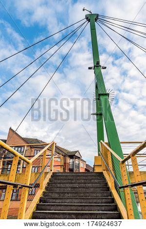 cable bridge over Nene River in Northampton.