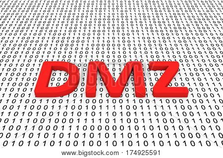 dmz in the form of binary code, 3D illustration