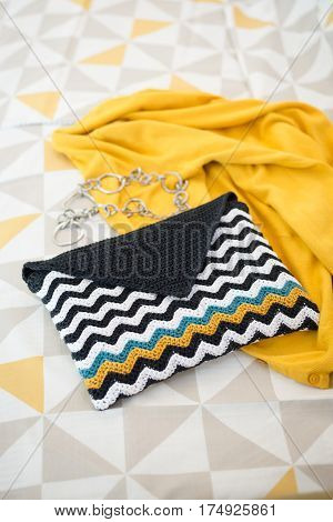 Crocheted Envelope-style Pouch With Black And White Wave Pattern