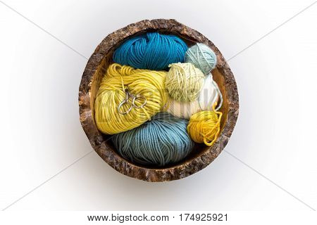 Thread Snips And Balls Of Wool In Wooden Bowl Overhead