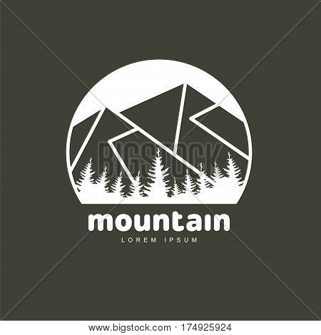 Mountains and outdoor adventures logo templates. Abstract black and white camping tourism hiking mountain and travel logotype design. Vector illustration isolated on color background.