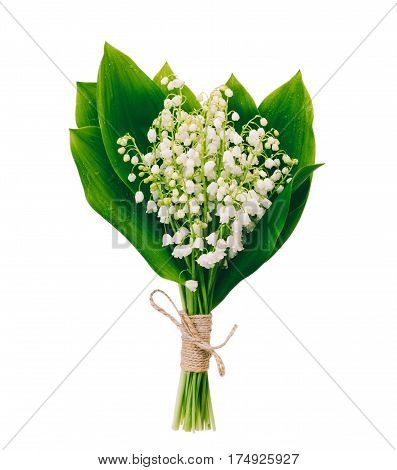 bouquet of white fragrant flowers forest lilies with green leaves isolated on white background