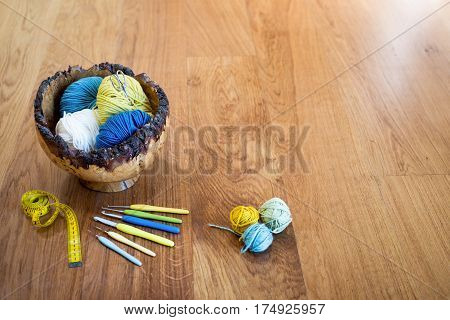 Crochet Needles And Yarn On Wooden Surface Copy Space