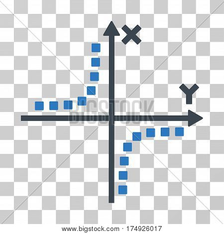 Hyperbola Plot icon. Vector illustration style is flat iconic bicolor symbol smooth blue colors transparent background. Designed for web and software interfaces.