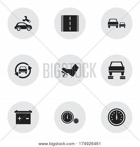Set Of 9 Editable Vehicle Icons. Includes Symbols Such As Accumulator, Automotive Fix, Treadle And More. Can Be Used For Web, Mobile, UI And Infographic Design.
