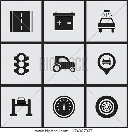 Set Of 9 Editable Traffic Icons. Includes Symbols Such As Highway, Stoplight, Speed Control And More. Can Be Used For Web, Mobile, UI And Infographic Design.