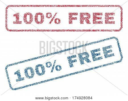 100 Percent Free text textile seal stamp watermarks. Blue red fabric vectorized texture. Vector caption inside rounded rectangular shape. Rubber emblem with fiber textile structure.