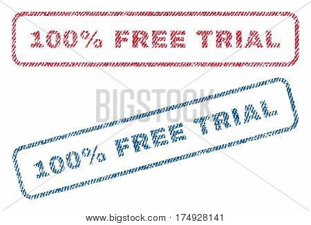 100 Percent Free Trial text textile seal stamp watermarks. Blue red fabric vectorized texture. Vector caption inside rounded rectangular banner. Rubber sign with fiber textile structure.