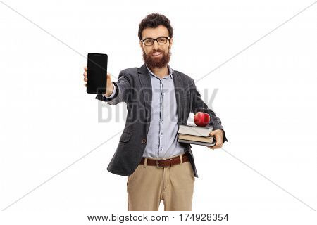 Young teacher showing a phone isolated on white background