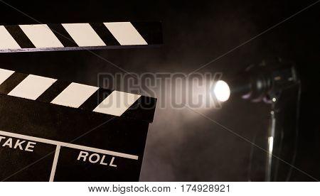 Filmamkers clapperboard, studio light on background. Movie and cinema concept