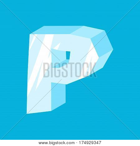 Letter P Ice Font. Icicles Alphabet. Freeze Lettering. Iceberg Abc Sign
