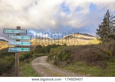 Villuercas geopark trail Caceres Extremadura Spain. Way signpost