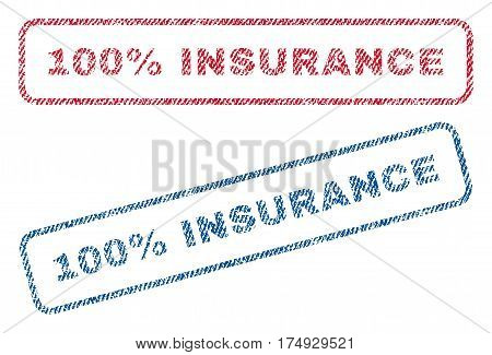 100 Percent Insurance text textile seal stamp watermarks. Blue red fabric vectorized texture. Vector tag inside rounded rectangular shape. Rubber sign with fiber textile structure.