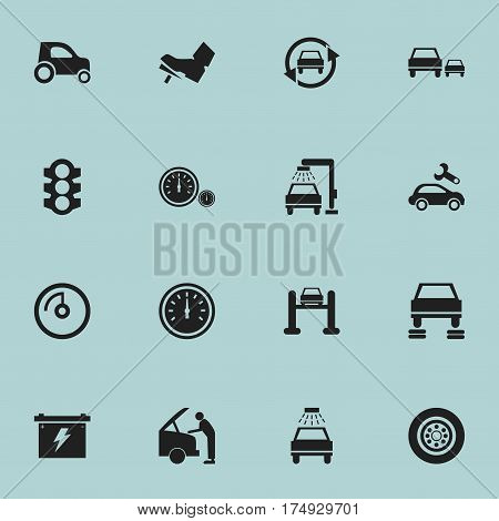 Set Of 16 Editable Traffic Icons. Includes Symbols Such As Speed Display, Speedometer, Stoplight And More. Can Be Used For Web, Mobile, UI And Infographic Design.
