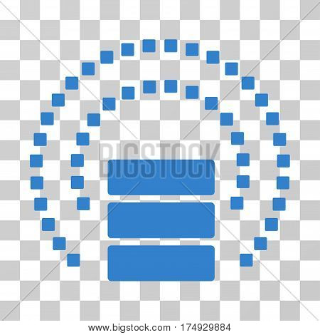 Database Sphere Shield icon. Vector illustration style is flat iconic symbol cobalt color transparent background. Designed for web and software interfaces.