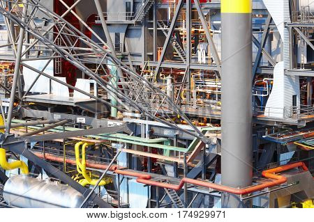Oil and gas platform model scale. Energy industry. Petroleum exploration