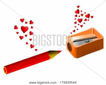 Love at first sight between a pencil sharpener and a pencil