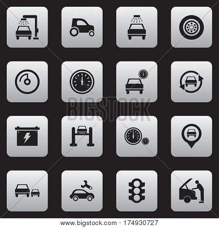 Set Of 16 Editable Car Icons. Includes Symbols Such As Speed Control, Car Lave, Tire And More. Can Be Used For Web, Mobile, UI And Infographic Design.