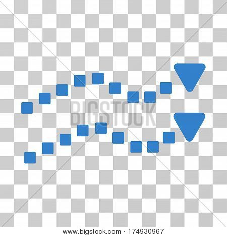 Dotted Trend Lines icon. Vector illustration style is flat iconic symbol cobalt color transparent background. Designed for web and software interfaces.