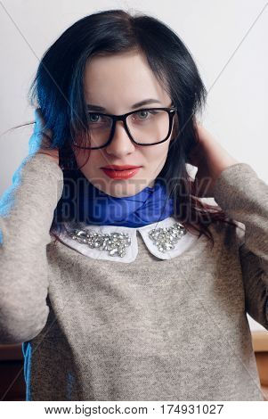 Portrait Of A Girl In A Blue Headscarf,