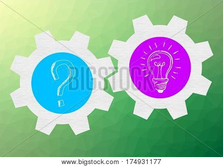 Digitally generated image of question mark and electric blub in gear