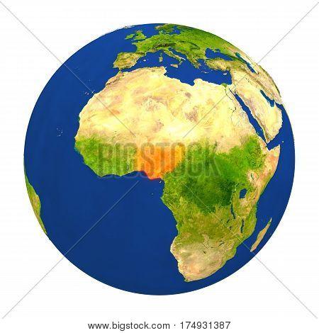 Nigeria Highlighted On Earth