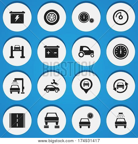 Set Of 16 Editable Transport Icons. Includes Symbols Such As Automobile, Car Lave, Vehicle Car And More. Can Be Used For Web, Mobile, UI And Infographic Design.