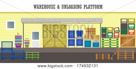 Front facade of the store unloading platform. Boxes, plastic containers, pallets, baskets under a canopy. Vector flat  illustration.