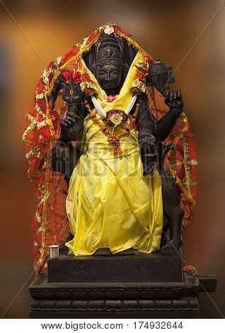 Lord Bhairav is a fierce form of Shiva. Bhairava is also called as protector as he guards the eight directions of the universe. In all Hindu temples there will be a Bhairava idol. This Bhairava is the protector of the temple