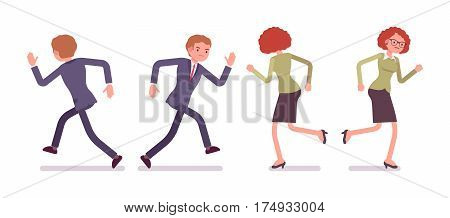 Set of young unhappy male and female office workers in a smart formal wear, running poses, fellow employees, colleagues, full length, front and rear view isolated against white background