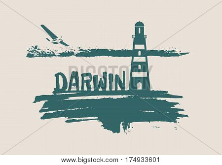 Lighthouse on brush stroke seashore. Clouds line with retro airplane icon. Vector illustration. Darwin city name text.