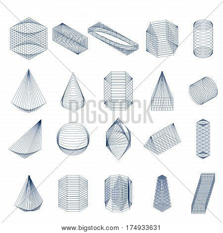 Set of geometric shapes. Isometric view. Mystical symbols. Trend icons. Isolated on white background. Simple blue linear math figures. Mesh Vector illustration.