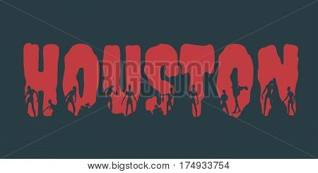 Houston city name and zombie silhouettes on them. Halloween theme background